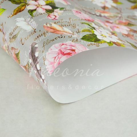Папір пакувальний листовий 70см*100см квіти вишни