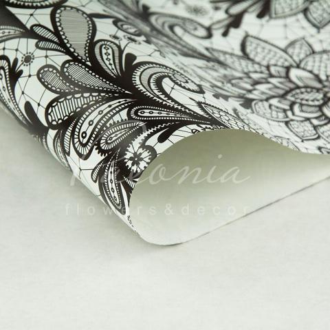 Бумага упаковочная листовая 70см*100см Черное кружево