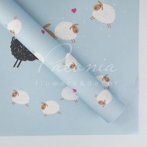 Папір Флористичний 60*60см щільність 100гр/м кв барашки блакитний+рожевий