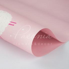 Папір для пакування квітів щільний листовий баранці рожевий 60 см * 60см