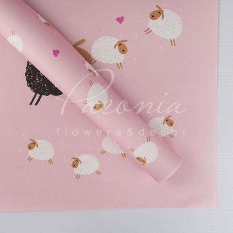 Папір Флористичний 60*60см щільність 100гр/м кв барашки рожевий