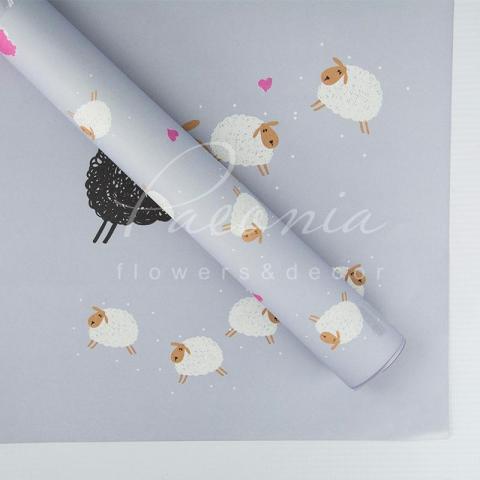 Папір Флористичний 60*60см щільність 100гр/м кв барашки сірий-фіолетовий