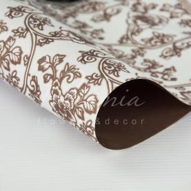 Папір для пакування квітів щільний листовий квітковий принт коричневий 60 см * 60см