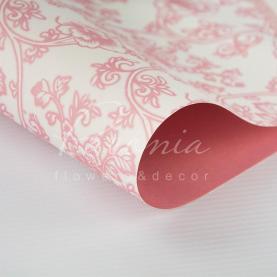 Бумага флористическая 60*60см плотность 100гр/м кв цветочный принт розовый